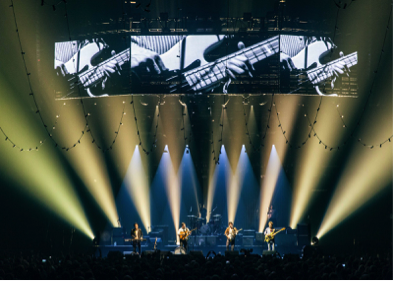 Mumford & Sons tour with lighting and atmospheric effects supplied by MDG (Photo from Rachael Wright)